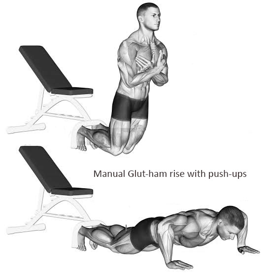 Manual Glut-ham rise with push-ups