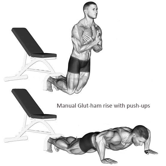Manual Glut-ham rise with push-ups