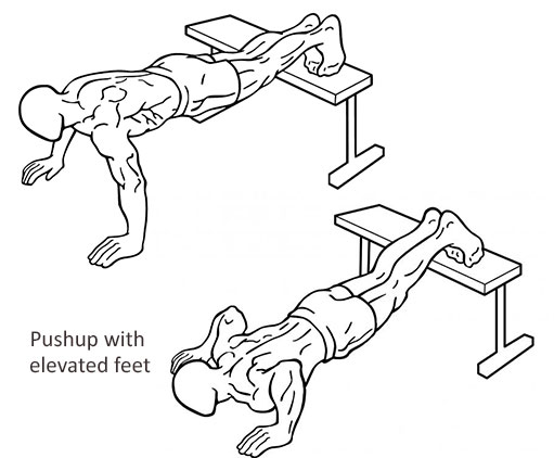 Pushup with elevated feet