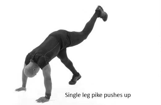 Single leg pike pushes-up