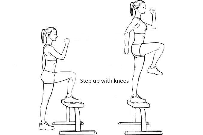 Step-up with knees